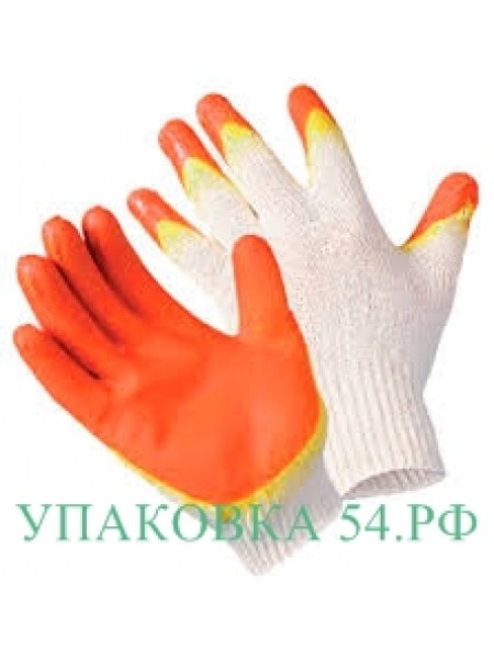 Перчатки  с латексным покрытием -2(цвет оранжевый с зеленым)