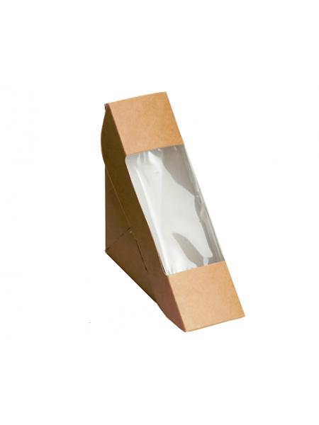 Коробка крафт с окошком- 8 (13*13*18 см)