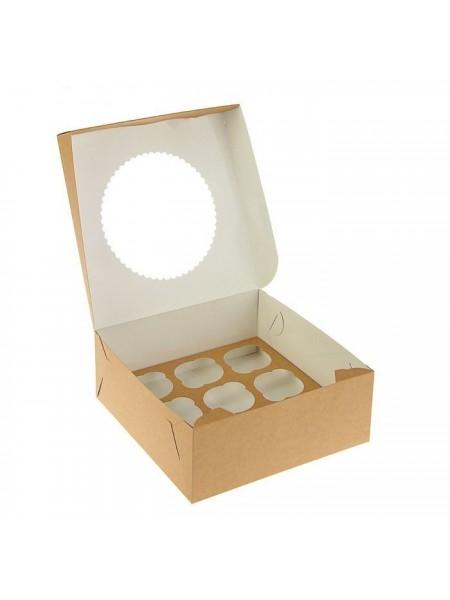 Коробка крафт с окошком-17 (25*25*10 см)