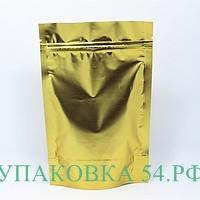 Пакет дой-пак металлизированный золотой,с прозрачной стороной 12*21 см