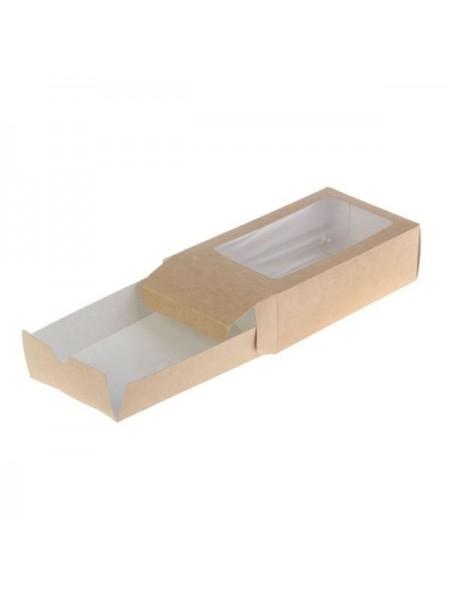 Коробка крафт с окошком-5 (20,5*12*4,5 см)