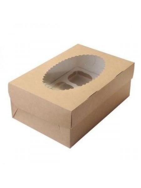 Коробка крафт с окошком-16 (33*25*10,5 см)