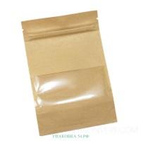 Дой-пак пакет (крафт, с окном) 12*18,5 см