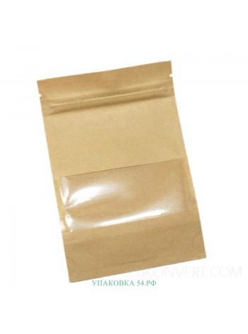 Пакет дой-пак (крафт, с окном) 10,5*15 см