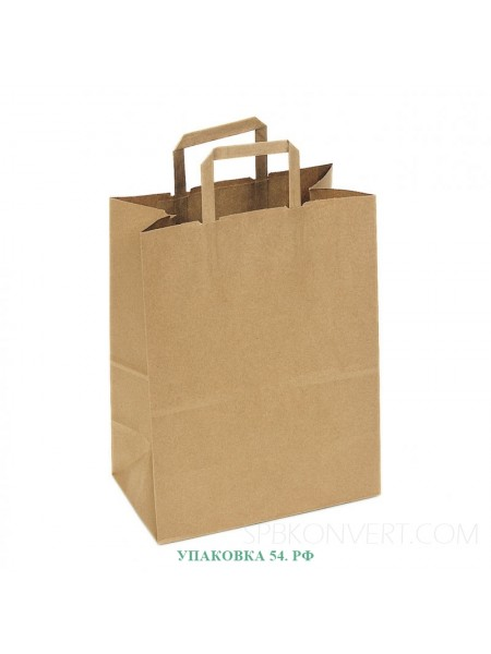 Пакет-сумка крафт с плоскими ручками (32*32*18 см)